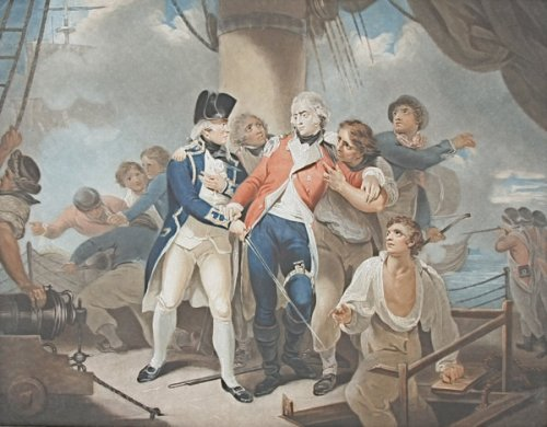 Captain Henry Trollope with the moratlly wounded Marine Captain Henry Ludlow Strangeways on the deck of HMS Glatton