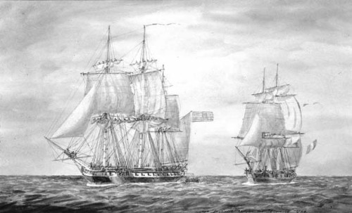 USS Delaware takes the French privateer La Croyable off Egg Harbor, NJ
