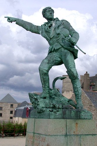 Statue of Robert Surcouf in Saint Malo