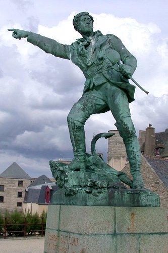 Statue of Robert Surcouf in Saint Malo